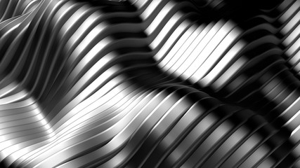 Metal background with lines. 3d illustration, 3d rendering.