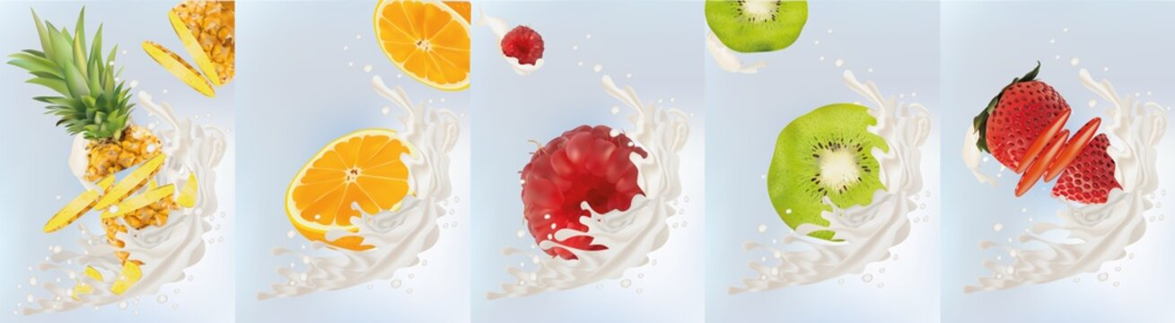Realistic fruits kiwi, orange, pineapple, raspberry, strawberry with milk splashes close up. 3d vector illustration. Set milk splashed and fruits