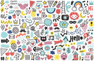 Summer doodles set Wall mural