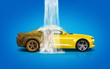 Car wash, car wash foam water, Dirty car wash in action - Image Fototapete