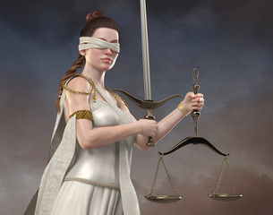 Blind Justice -Realistic Beautiful Lady Justice Concept