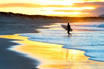 Silhouette surfer beach sunset Portugal