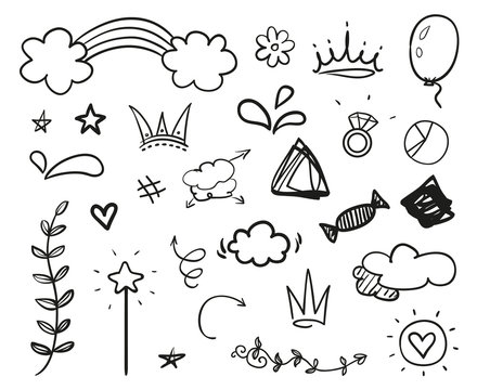 Hand drawn elements on isolated white background. Simple signs. Line art. Set of different shapes. Abstract indicators. Black and white illustration. Doodles for artwork