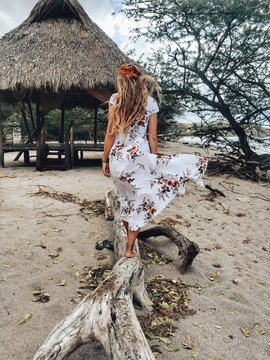 women's white and red floral dress