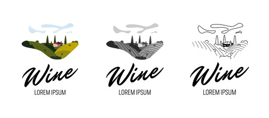 Rural landscape with vineyard fields, villa, trees set in colorful, grey, line vintage style. Trendy concept for wine list, bar or restaurant menu, labels and production package. Vector