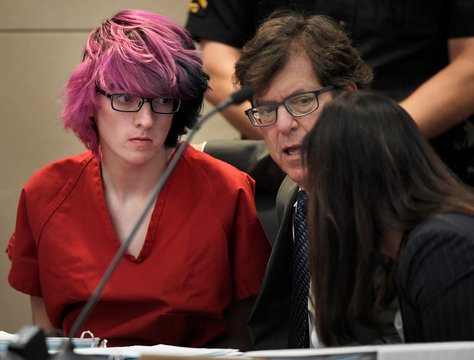 Devon Erickson, 18, accused of taking part in a deadly school shooting, appears at the Douglas County Courthouse where he faces murder and attempted murder charges, in Castle Rock, Colorado