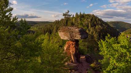 Panoramic view on the Devil's Table at the Palatinate Forest near Hinterweidenthal in Germany.