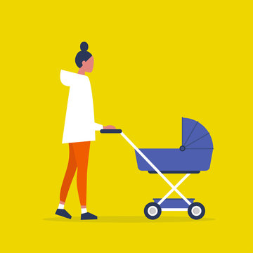 Baby carriage. Pram. Young female character walking with a stroller. Modern parenthood. Flat editable vector illustration, clip art