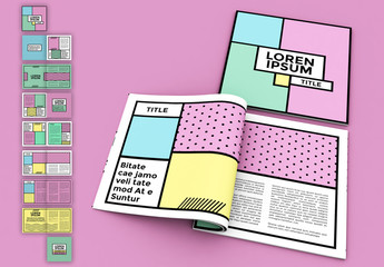 Square Magazine Layout with Pop Style Elements