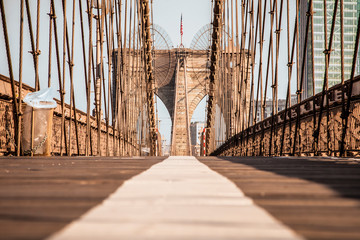 Empty Brooklyn Bridge promenade in New York City