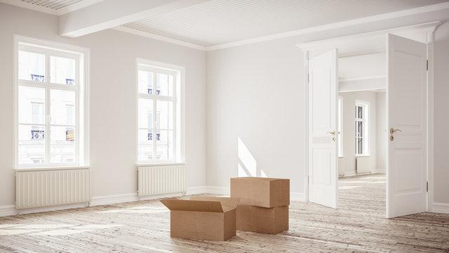 3D rendering von leerem Raum oder Zimmer einer hellen Wohnung in Innenstadt mit Umzugskartons beim Umzug zum mieten oder kaufen bei Tageslicht