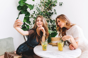 Wall Mural - Pretty long-haired girl in elegant dress making selfie with friend while chilling in cozy restaurant. Indoor portrait of two lovely ladies having fun in cafe and drinking cocktails during lunch.