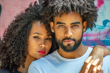 Handsome black  young couple outdoors