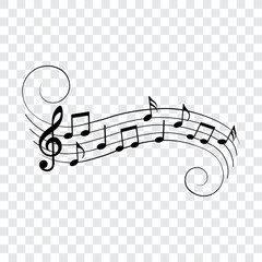 Music notes and symbols, musical design element, vector illustration.