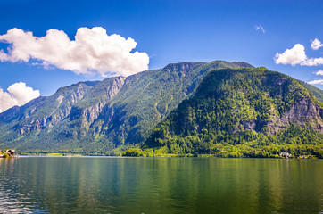 Fototapete - Fantastic landscape of Hallstatt lake, Austrian Alps,  Salzkammergut, Austria, Europe