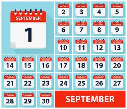 September 1 - September 30 - Calendar Icons