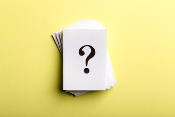 Question mark heap with copy space for confusion question or solution concept