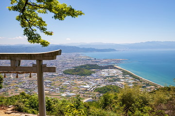 Japanese torii gate and landscape of Kanonji city on the seto inland sea ,Shikoku,Japan