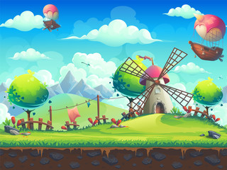 Vector illustration background mill on the hill