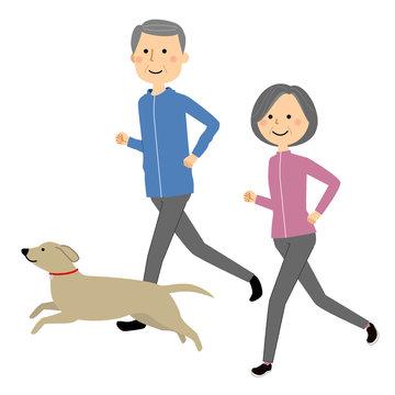 シニアカップル ジョギング