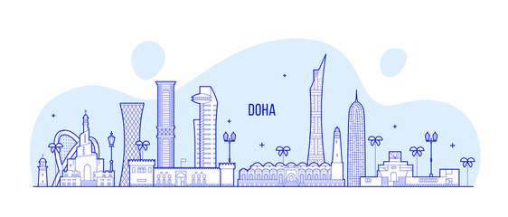 Fototapete - Doha skyline Qatar city buildings vector linear