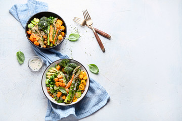 Vegetarian buddha bowls. Top view, flat lay with copy space