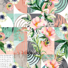 Modern seamless geometric and floral pattern