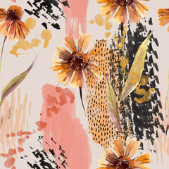 Watercolor flowers, leaves, scribbles, rough brush strokes, textures background