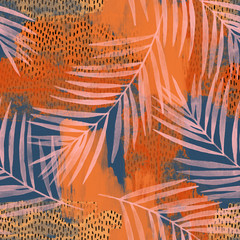 Water color palm leaves on rough grunge textures, doodles, scribbles background