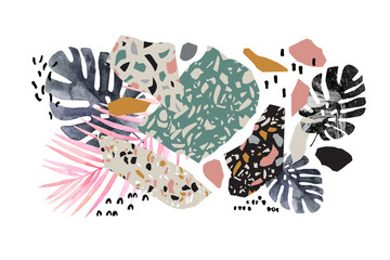 Poster Grafische Prints Tropical watercolor leaves, turned edge geometric shapes, terrazzo flooring elements collage