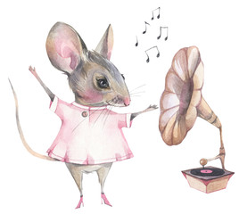 Hand painted watercolor illustration. Funny cartoon mouse and old gramophone.
