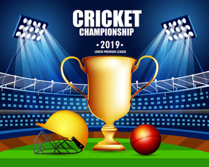 illustration of Cricket Cricket championship concept with showing match