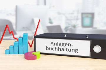 Anlagenbuchhaltung – Finanzen/Wirtschaft. Ordner auf Schreibtisch mit Beschriftung neben Diagrammen. Business