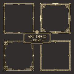 Art deco border and frame set vector