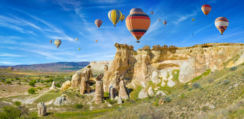 Colorful hot air balloons in Cappadocia near Goreme, Turkey