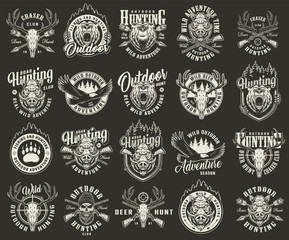 Vintage monochrome hunting club labels
