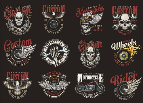 Vintage colorful motorcycle repair service logos