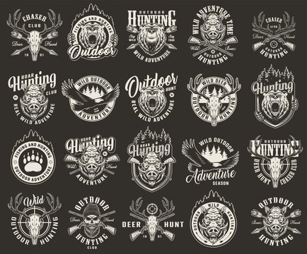 Vintage monochrome hunting club labels