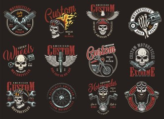 Foto op Aluminium Uilen cartoon Colorful custom motorcycle prints