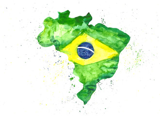 Watercolor illustration hand draw map of Brazil in the colors of the flag with splashes Fotomurales