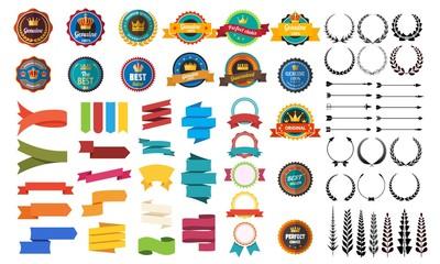 Obraz Set of vector retro badge ribbon vintage element for design on white background. Vector stock illustration - fototapety do salonu