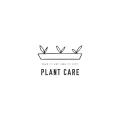 Hand drawn garden isolated illustration. Vector logo template, sprouts in a pot.