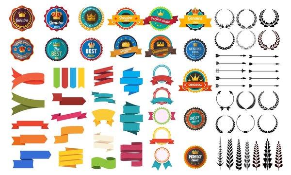 Set of vector retro badge ribbon vintage element for design on white background. Vector stock illustration