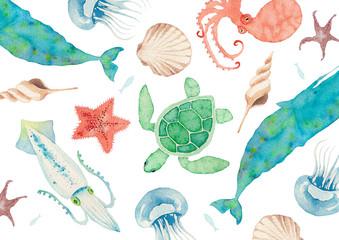 夏 背景 テキスタイル 海の生物 水彩 イラスト Wall mural