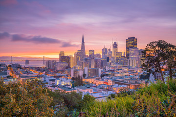 Wall Mural - Beautiful view of business center in downtown San Francisco in USA