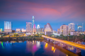 Fotomurales - Downtown Skyline of Austin, Texas in USA from top view
