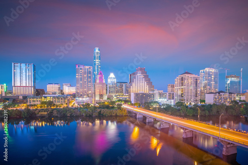 Fotomurales Downtown Skyline of Austin, Texas in USA from top view