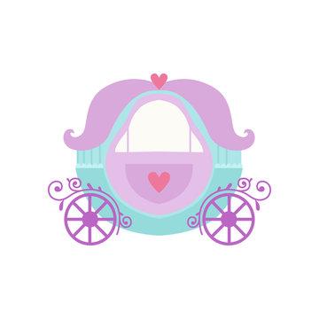 Cute Princess Fairytale Fantasy Carriage Cartoon Vector Illustration