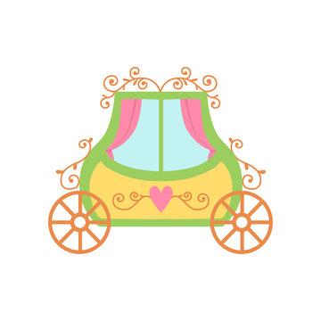 Cute Princess Fairytale Carriage Cartoon Vector Illustration