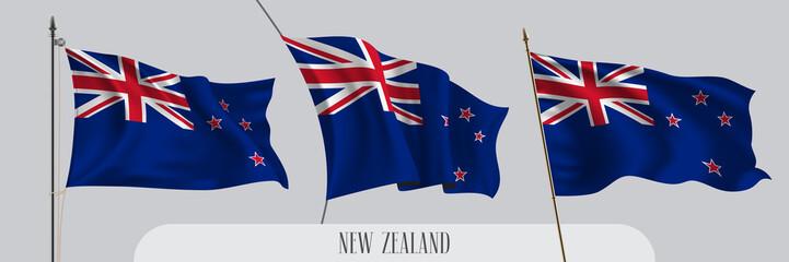 Set of New Zealand waving flag on isolated background vector illustration